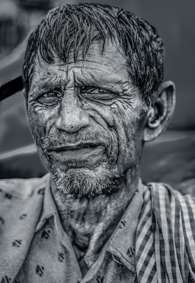 Experience - Story Behind Those Lines by Rishav Chakraborty - People Portraits of Men ( textured skin, pixonova, potrait, rishav chakraborty, rishav chakraborty photography, black and white, transport, kolkata, rickshaw, driver, detailed skin, street photography )