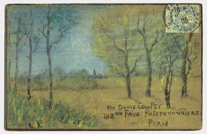 <p> <strong>L&eacute;on Coupey<br /> To Ma Dame Coupey (Paris)</strong><br /> Ink &amp; crayon on card<br /> 3 &frac12;&quot; x 5 &frac12;&quot;<br /> 1905</p> <p> Collection Tarek Barbir, London<br /> Estate of Marguerite Coupey Barbir, Montreal<br /> Set 3A.10&nbsp;</p>