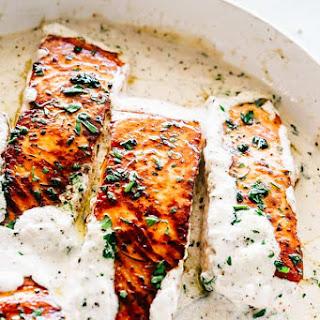 Pan Seared Salmon with Lemon Garlic Cream Sauce Recipe