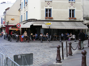 Photo: Another pleasant al fresco lunch in town, with a terrine de porc starter, steak frites, and a plum tart dessert - yum!