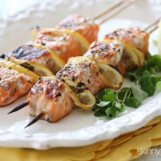 Grilled Salmon Kebabs.