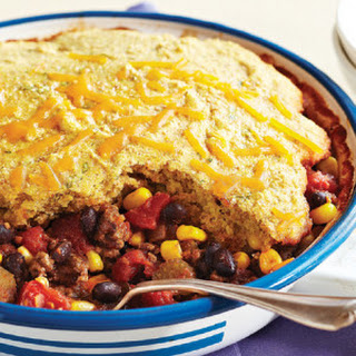 Corn Bread-Topped Beef & Black Bean Chili Recipe