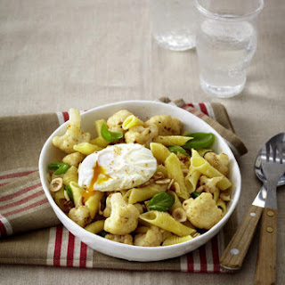 Cauliflower and Basil Pasta with Poached Eggs