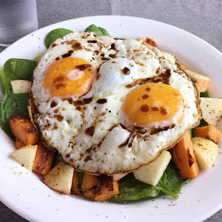 Crispy Fried Eggs Over Veggies.
