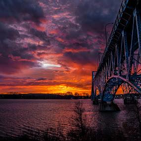 Bridge to the Perfect Sunrise by John Witt - Buildings & Architecture Bridges & Suspended Structures ( buffalo, grand island bridge, sunrise, niagara river, morning )