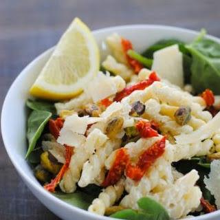 Creamy Lemon Pasta Salad with Spinach.