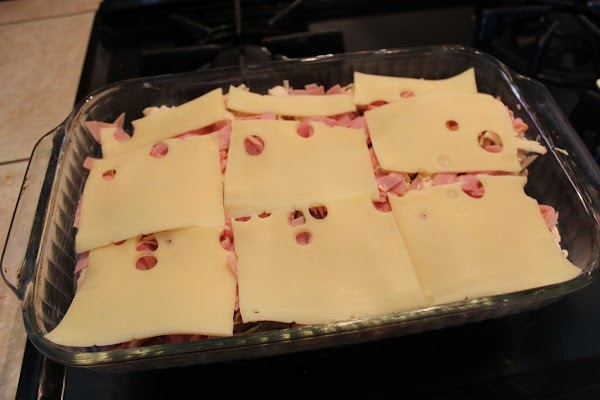 Layer the Swiss cheese on top of the ham and chicken.