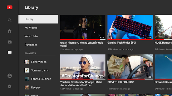 YouTube for Android TV Screenshot