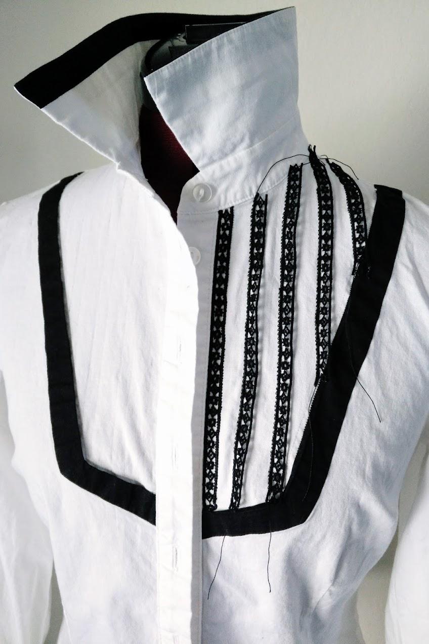 In-Progress: Lace Ribbon Trim Bib Shirt Refashion - DIY Fashion Garments | fafafoom.com