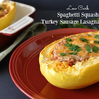 Spaghetti Squash Turkey Sausage Lasagna Boats