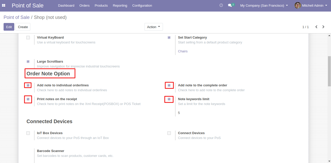 Navigate to the settings of the POS session by using the Odoo POS Order Notes.