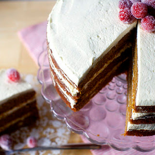 Gingerbread Layer Cake with Whipped Mascarpone Cream and Sugared Cranberries