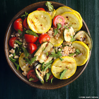 Grilled Summer Squash, Couscous and Tomato Salad.