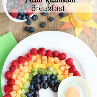 Fruit Rainbow with a Pot of Gold (Fun Breakfast Idea for Kids!)