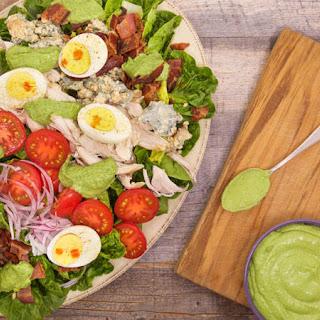 Gem Lettuce and Rotisserie Chicken Cobb Salad with Avocado Green Goddess Dressing