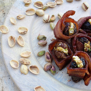 Bacon Wrapped Dates with Goat Cheese and Pistachios.