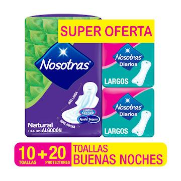 //Oft Toallas Intimas   Nosotras Buenas Noches X 10Und + Protectores Diari