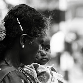mother and a child by Manjunath Nagesha Rao - People Portraits of Women