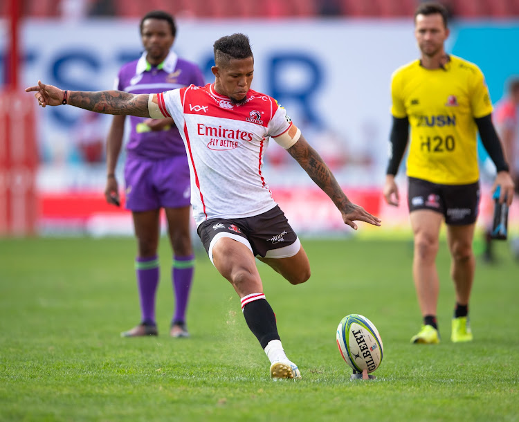 The Emirates Lions flyhalf Elton Jantjies kicks for goal during a Super Rugby match against the Highlanders at Ellis Park on May 18 2019.