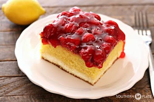 Click Here for Recipe: Magic Lemon Cherry Cheesecake A layer of cake...
