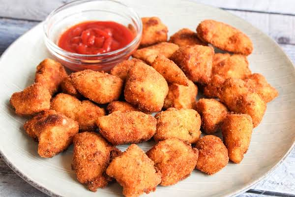 A Plate Of Yummy Homemade Chicken Nuggets.