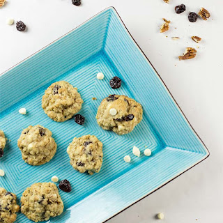 White Chocolate Chip Cookies with Oats and Cherries.