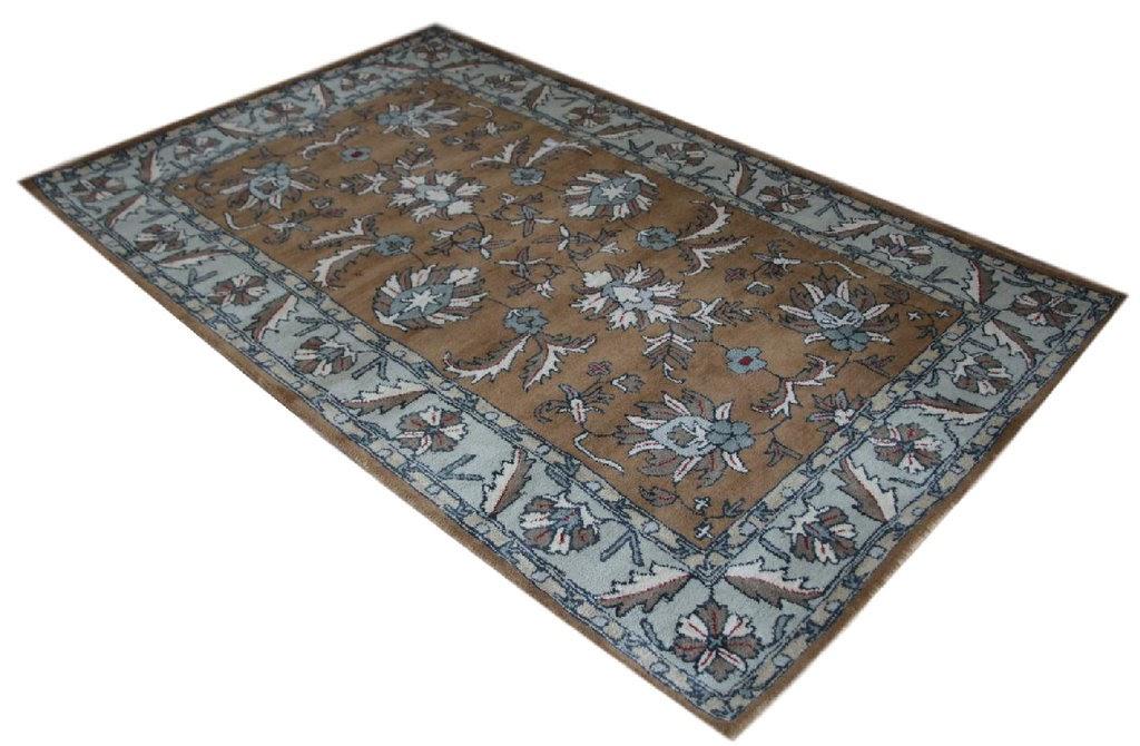 brązowy dywan persian ziegler wełniany ręcznie tkany 155x245 tradycyjny kwiatowy