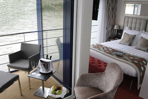 amacerto-stateroom.jpg - A look at AmaCerto's standard stateroom with elegant touches and twin balconies to take in the passing parade of sights on your European adventure.
