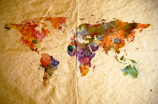 Watercolor World Map Old Paper Background By Leszek Glasner