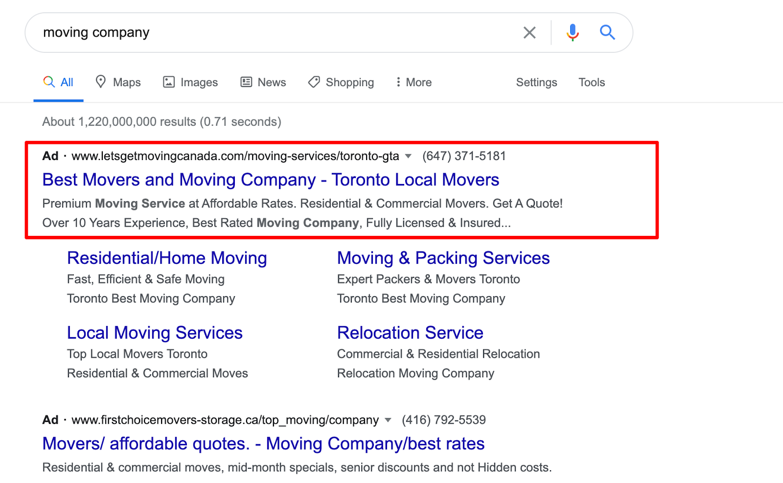 moving company, google ads