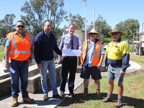 Upgrade: Narrrabri Shire Council water services manager Richard Madden, State Member for Barwon Kevin Humphries, council acting infrastructure delivery director Alan Lawrance and Wee Waa Sewage Treatment Plant staff members Ken Hill and Brett Pillar at the announcement yesterday.