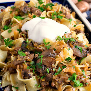 Lazanki with Mushrooms and Beef