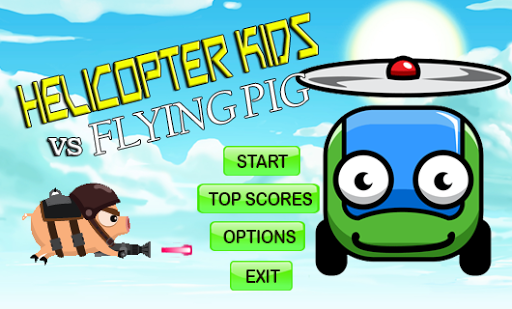 Helicopter Kids And Flying Pig