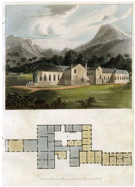 Image of View and Plan of Longwood House, St. Helena: the Residence of Napoleon Bonaparte, 1817 (aquatint), Ackermann, Rudolph (1764-1834) / Private Collection Photo © Fine Art Images / Bridgeman Images