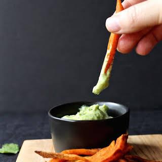 Smoky & Spicy Baked Sweet Potato Fries|Avocado, Cilantro & Lime Dipping Sauce.