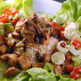 Warm Soy Sriracha Chicken and Rice Salad.