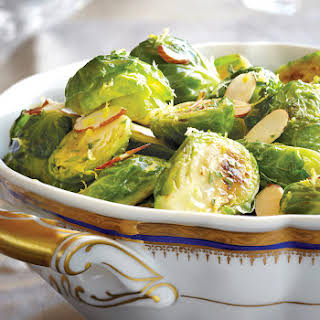 Roasted Brussels Sprouts with Parsley, Lemon & Almonds.