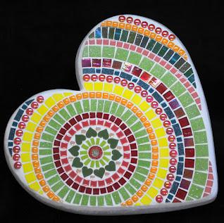 Tropical Mandala Large Heart Mosaic Stepping Stone by Brenda Pokorny