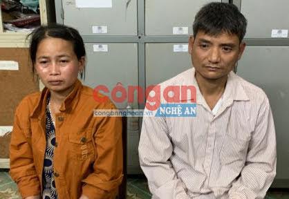 2 đối tượng Lin Thị Tuyên và Moong Văn Long tại cơ quan Công an