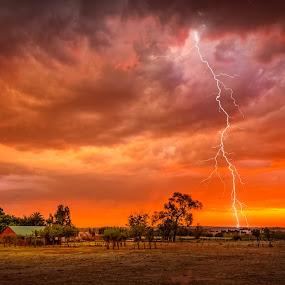 Strike the Colours by Hans-Erik Arp - Landscapes Weather ( thunder, savannah, clouds, lightning, thunderstorm, african, magaliesberg, sunset, south africa, storm, rain,  )