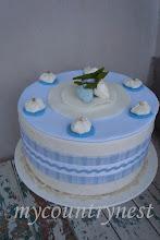 Photo: torta-scatola azzurra e bianca