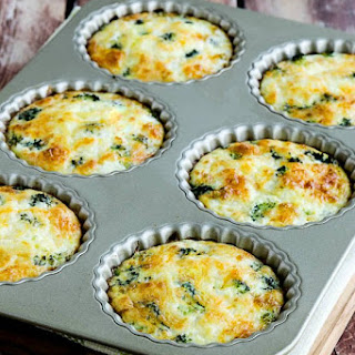 Low-Carb Baked Mini Frittatas with Broccoli and Three Cheeses.