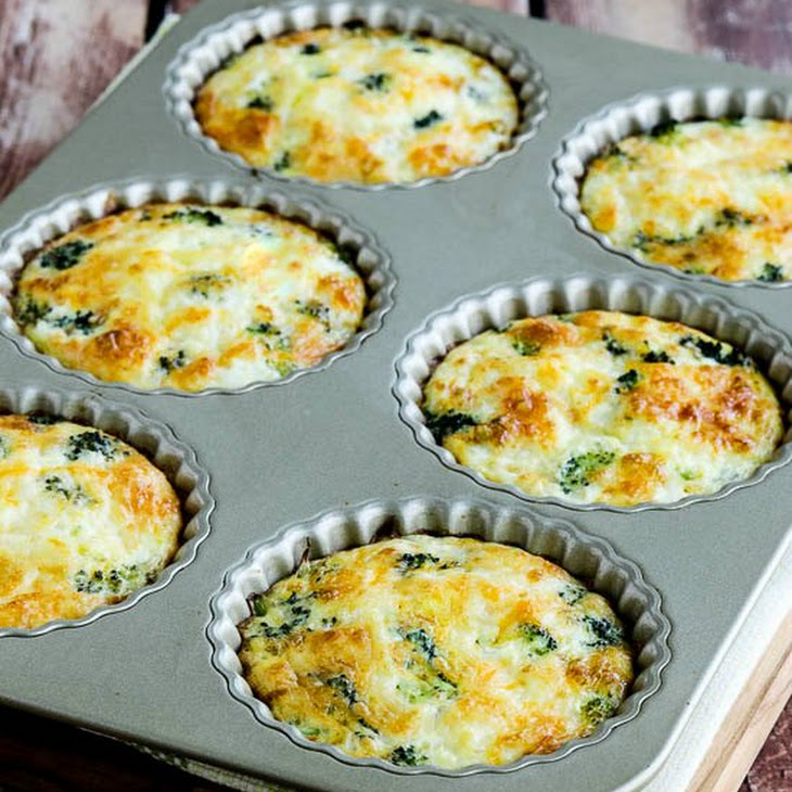 Low-Carb Baked Mini Frittatas with Broccoli and Three Cheeses Recipe