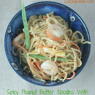 Spicy Peanut Butter Noodle with Shrimp and Veggies
