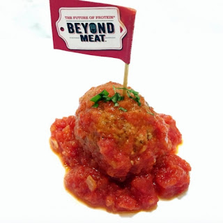 Bobby Calabrese's Vegan Marinara Meatballs with the Beyond Burger.