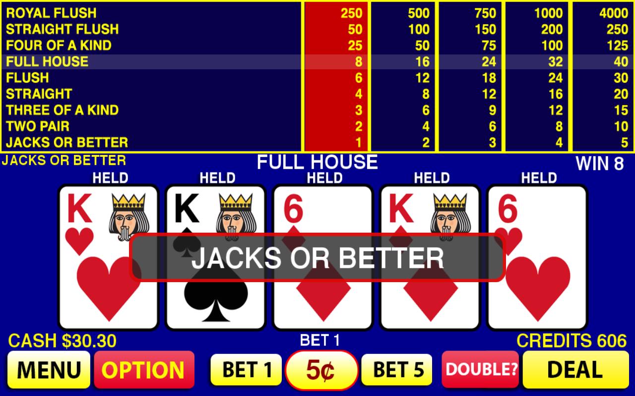 Free video poker trainer jacks or better