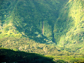 Photo: Manoa Falls with, to its left, a new channel caused by a rockslide during a very wet 2006.  Erosion in action.  A quick calculation suggests that this is not a dominant mode of erosion in the valley - i.e. Manoa Valley was not primarily excavated by rockslides like this one.