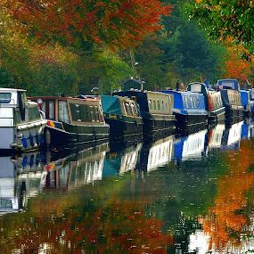 by Pat Regan - Transportation Boats ( water, autumn, fall, boats,  )
