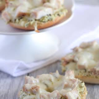 Creamy Chicken Pesto Pizza Bagels.