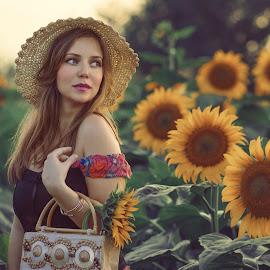 Kata by Dragana Trajkovic - People Portraits of Women ( woman, hats, portrait, girl, people, sunflower,  )